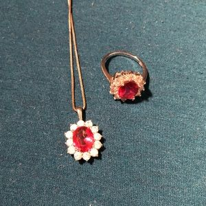 Ruby Necklace and Ring Set